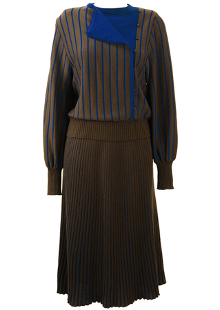 Pure New Wool Grey & Electric Blue Striped Skirt Two Piece - S/M