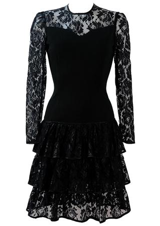 Black Lace & Jersey Drop Waist Evening Dress with 80's Ra Ra Skirt - S