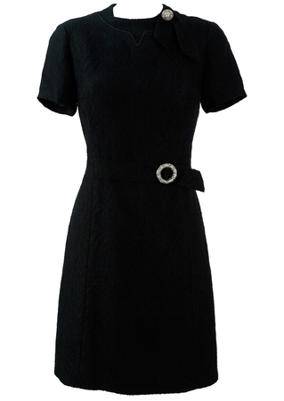 Vintage 60's Black Evening Shift Dress with Silver Buckle & Brooch - M/L