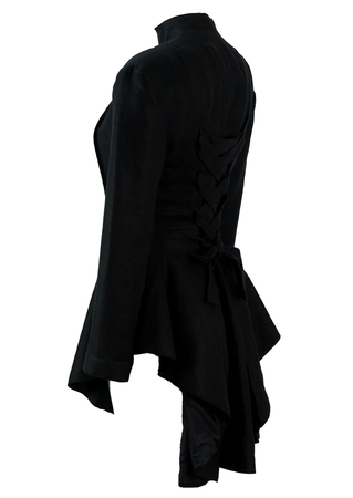 Black Victorian Style Riding Jacket with Corset Back Detail - S