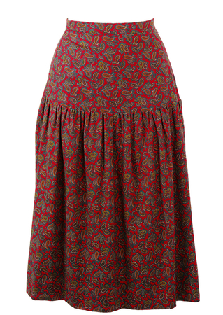 Red Paisley Patterned Flared Midi Skirt with Drop Waistband - XS/S