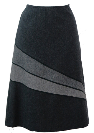 Charcoal Grey Below the Knee Wool Skirt with Asymmetric Stripes - M