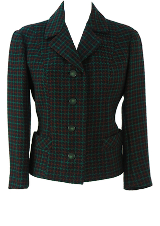 Vintage 60's Fitted Jacket with a Green, Russet & Black Check - S/M