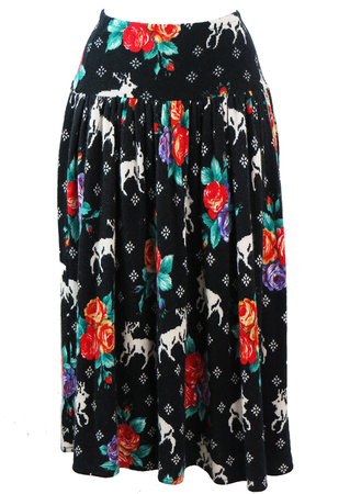 Blumarine Angora & Wool Midi Flared Skirt with Stag & Rose Pattern - S