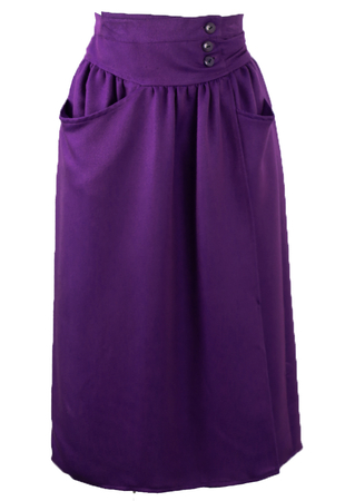 Purple & Blue Tonic Wrap Front Midi Skirt With Wrap Around Belt - XS/S