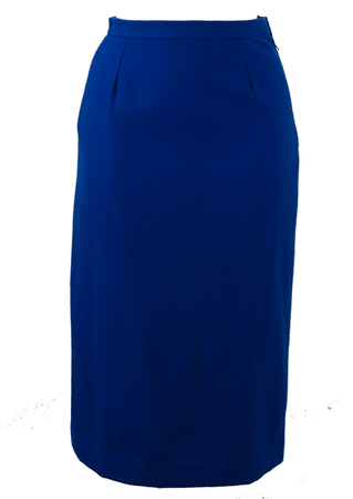 Electric Blue Wool Midi Pencil Skirt with Back Pleat Detail - XS/S