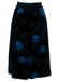 Black Velvet Midi Skirt with Vibrant Blue Floral Print - S/M