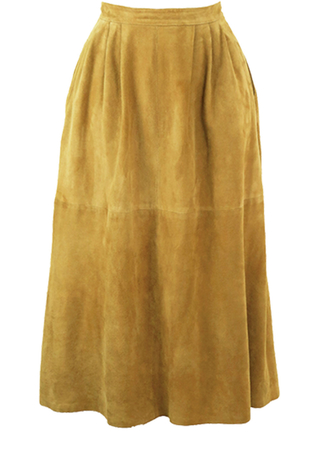 Camel Coloured Suede Midi, Flared Skirt with Side Pockets - S