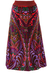 Vintage 70's Velvet Maxi Skirt with Multicoloured Abstract Paisley Pattern  - M