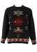 Kappa Charcoal Grey Jumper with Red, Green & White Aztec Pattern - L