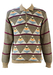 Button Front Jumper with Triangular & Striped Graphic Pattern - S