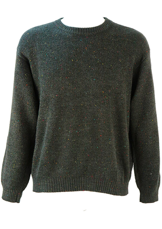 Dark Grey Knit Jumper with Multicoloured Specks - L/XL