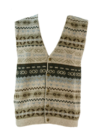 Light Grey Sleeveless Cardigan with Fairisle Pattern - M/L
