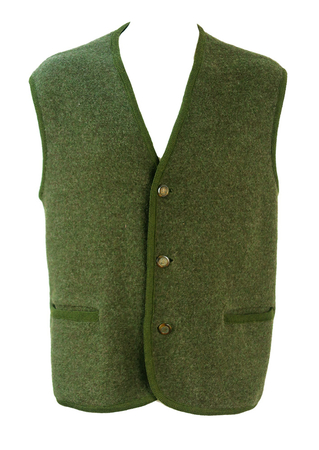 Tyrolean Woodland Green Gilet with Feature Buttons - XL