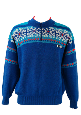 Silvy Blue, Red & White Ski Jumper with Nordic Pattern & Zip Neck Detail - L/XL
