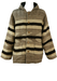 Cream, Brown & Grey Striped & Aztec Patterned Coat with Hood - L/XL