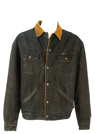Black Denim Jacket with Cord Collar, Quilted Inner Sleeves & Wool Lining - L/XL