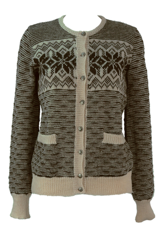 Pure Wool Brown & Cream Striped Cardigan with Nordic Pattern - S/M