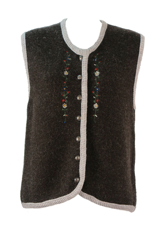 Tyrolean Brown Knit Sleeveless Cardigan with Floral Embroidery - M