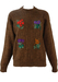 Super Kid Mohair Brown Jumper with Wool Embroidered Flowers - M