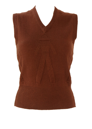 Russet V Neck Tank Top with Raised Man Motif Pattern - XS/S