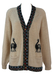 Cream Knit Cardigan with Alpaca Motifs & Multi Colour Aztec Trim - M/L