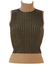 Brown Sleeveless Polo Neck Ribbed Jumper with Metallic Gold Stripes - XS/S