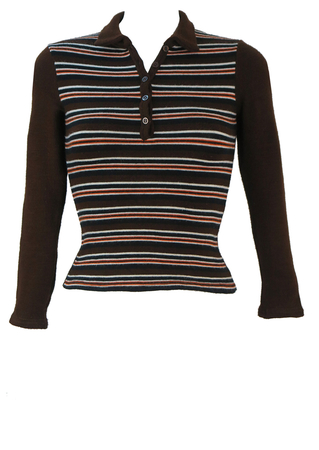 Petite Button Front Brown Jumper with Orange, Black & White Stripes - XS