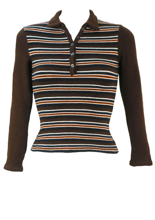 Petite Button Front Brown Jumper with Orange, Black & White Stripes - XS