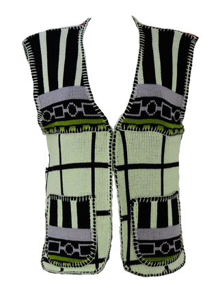 Knit Waistcoat with Mondrian Style Black, White, Green & Red Pattern - M/L