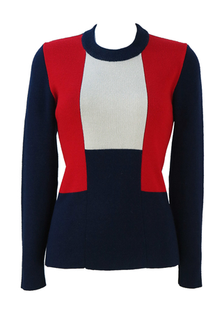 Round Neck Jumper with Navy, Red & White Block Design - S/M