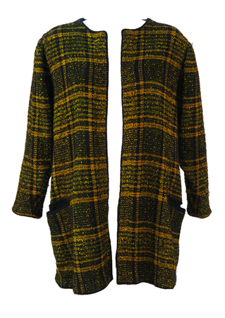 Escada Ochre, Black & Gold Check Wool Cardigan - L