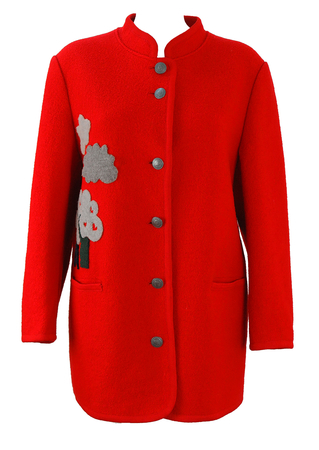 Tyrolean 3/4 Length Red Coat with Tree & Cloud Design - M