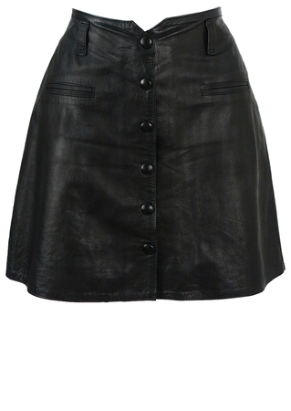 Super Soft Black Leather Mini Skirt - S