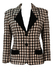 Dogtooth Check Fitted Jacket with Black Velvet Trim - M