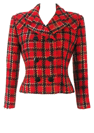 Fitted Double Breasted Wool Jacket with a Red & Black Check Pattern - S