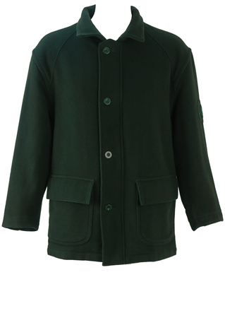 Marina Yachting 3/4 Length Green Wool Jacket with Quilted Lining - M/L