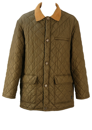 Fila Khaki Coloured Quilted 3/4 Length Jacket with Suede Collar - L/XL
