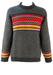 Grey Wool Jumper with Red, Yellow & White Fair Isle Pattern - M/L