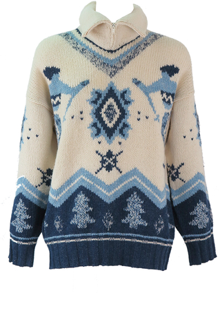 Cream & Blue Skier Motif Wool Jumper with Zip Roll Neck - XL/XXL