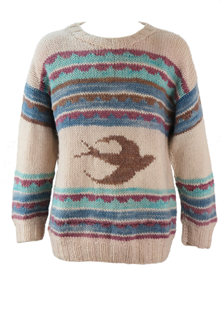 Cream Knit Jumper with Stripes and Swallow Pattern - L/XL