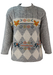 Mottled Grey & White Jumper with Cross Stitch Fox & Elephant Pattern - M/L