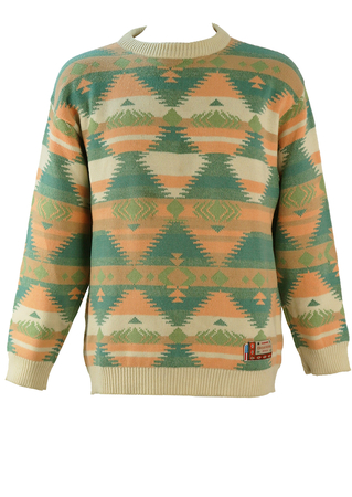 Aztec Patterned Jumper in Peach, Cream, Blue & Green - M/L