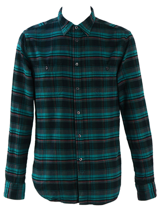 Turquoise, Black & Red Check Shirt with Denim Elbow Patches - M