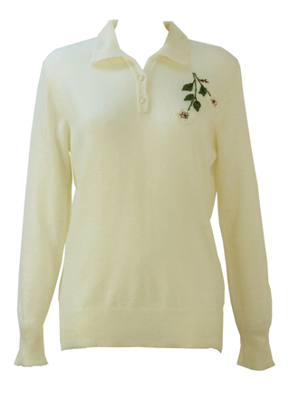 Fine Knit Cream Jumper with Collar and Floral Embroidery - M
