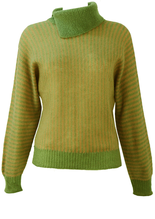 Peach & Green Striped Jumper with Batwing sleeves & Asymmetric Collar - S/M