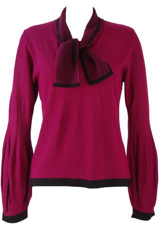 Fine Knit Maroon Jumper with Balloon Sleeves & Checkered Neck Tie - M