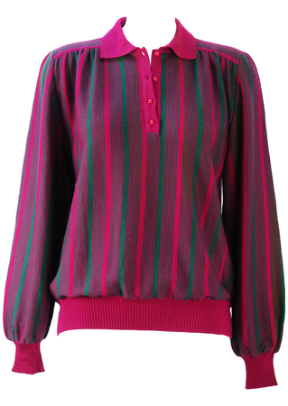 Green & Magenta Striped Jumper with Button Neck Collar - M