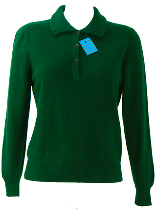 Green Wool & Angora Jumper with Button Front Neck & Roll Neck Option - New - S