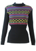 Black Ribbed Jumper with Purple, Lime, Pink & Green Stripe & Diamond Pattern - M